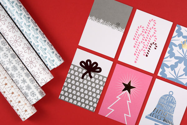 Image of Christmas gift wrap and postcard set