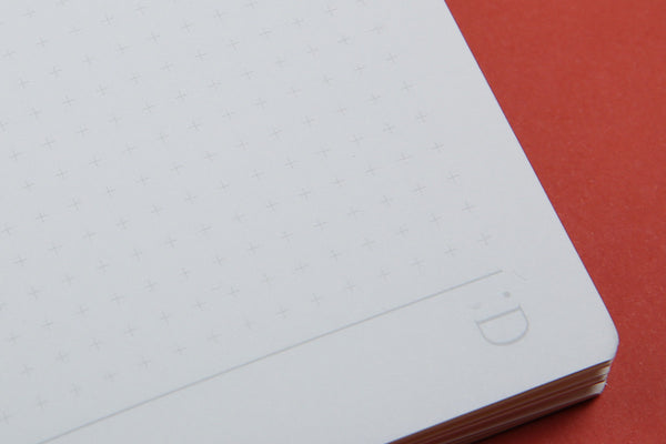 Close up image of A6 FlipFlop Pocket notebook grid page