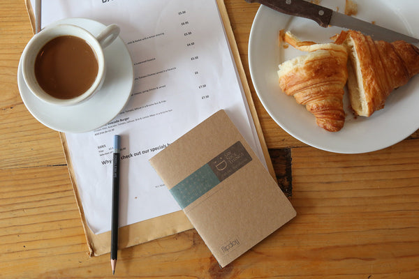 Image of a coffee cup, croissant and A6 FlipFlop Pocket Notebook