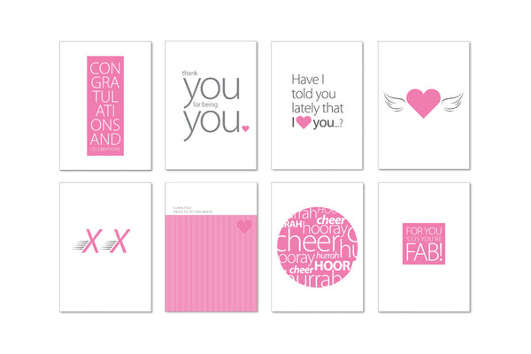 Image showing all 8 postcard designs in the Love Notes Postcard set