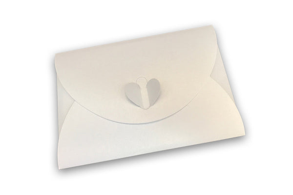 Image of satin white butterfly heart envelope for Kiss Chase postcard