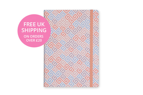 Image of Constance A5 Notebook cover showing design and pink elastic closure
