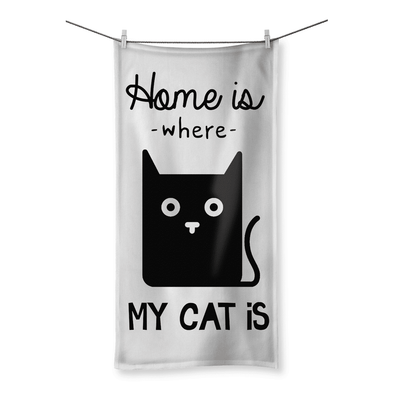 "Home Is Where My Cat Is - Beach Towel Home Is Where My Cat Is - Beach Towel Towel 19.7""x39.4"""