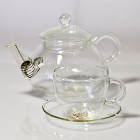 glass teapot and mini cup set