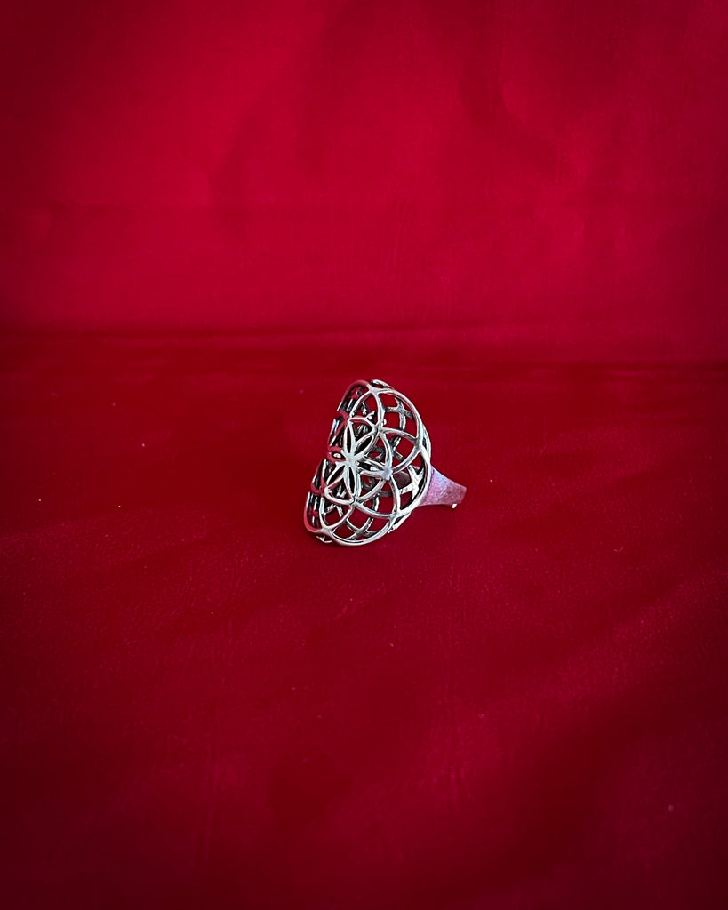 Flower of life pattern ring