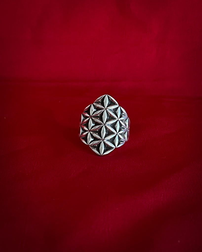 Flower of life hexagon silver Ring
