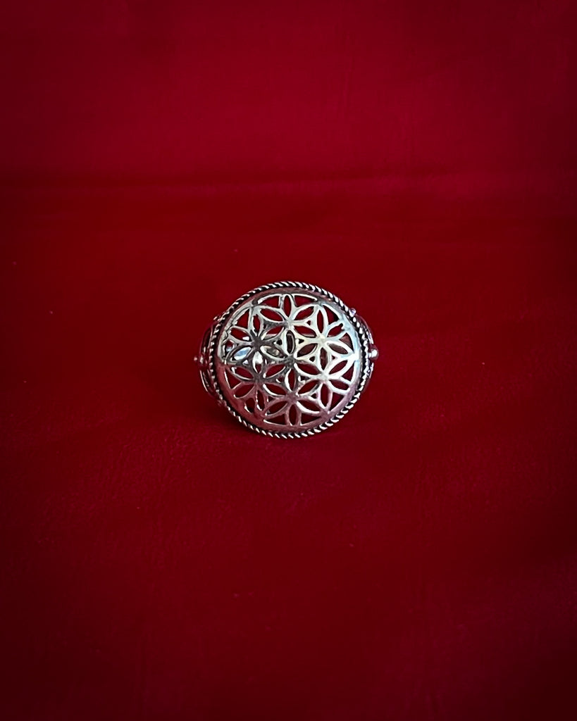 Circle Flower of life Silver Ring