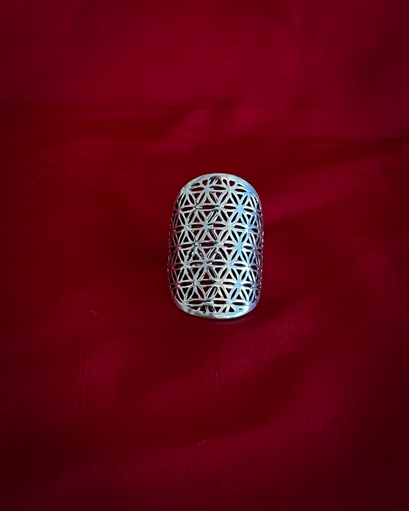 Flower of life pattern Silver Ring