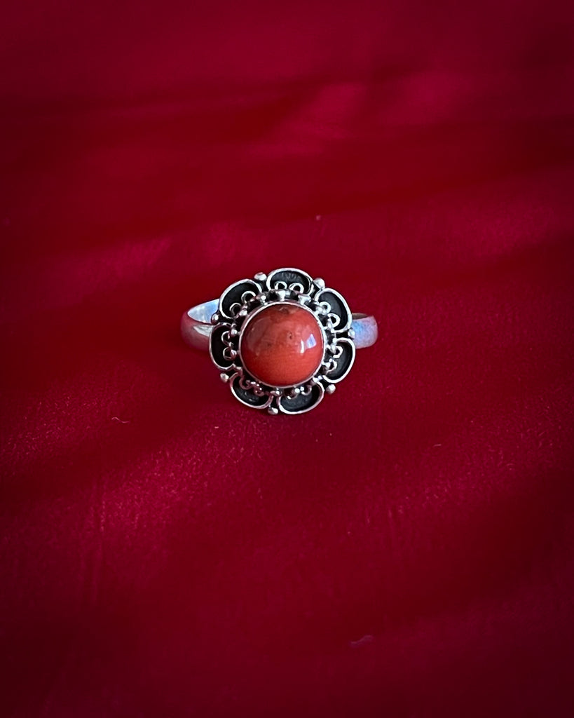 Coral Flower Silver Ring