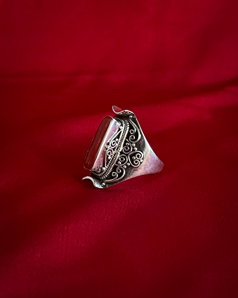 Red Coral Silver Ring