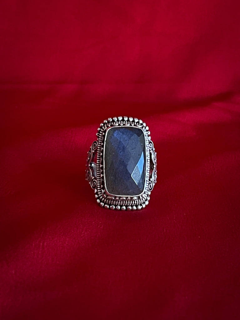 Blue Gem Stone Silver Ring