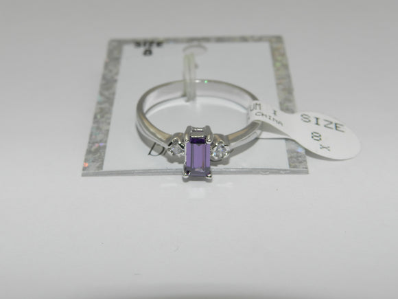 Bria Kate Stainless Steel Purple Amethyst Stone Ring