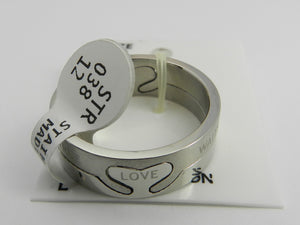 Stainless Steel Unisex 2 Piece Love Heart Ring - Size 9