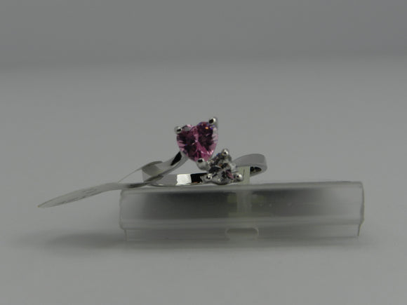 Bria Kate Stainless Steel Ring - 2 Pink Cubic Stone Hearts