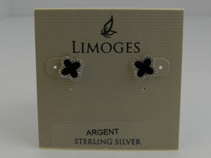 Limoges Sterling Silver Black Agate Clover/Cubic Zirconia Earrings and 18 Inch Chain with Pendant
