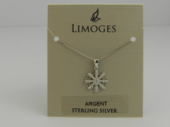 Limoges Sterling Silver Snowflake Cubic Zirconia Earrings with matching Pendant and 18