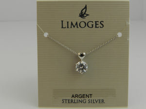 Limoges Sterling Silver Polished Heart with Cubic Zirconia Pendant and 18 Inch Chain