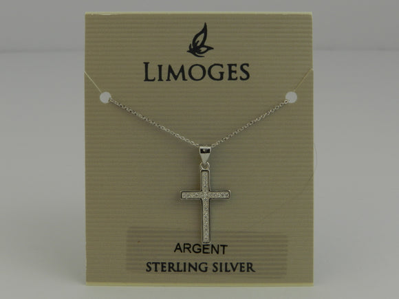 Limoges Sterling Silver Cubic Zirconia Cross Pendant with 18