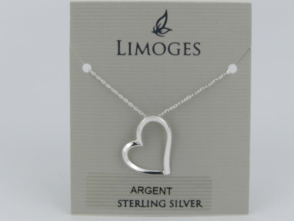 Limoges .925 Sterling Silver Heart Pendant with 18