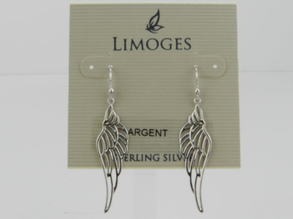 Limoges 925 Sterling Silver Wing Drop Earrings