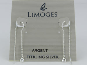 Limoges 925 Sterling Silver Cubic Zirconia Pull Thru Drop Earrings