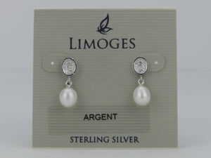 Limoges .925 Sterling Silver Cubic Zirconia with White Pearl Earrings