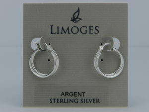 Limoges 925 Sterling Silver Double Hoop Earrings