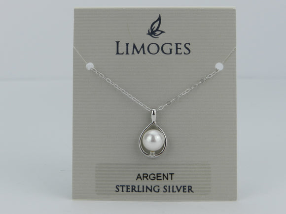 Limoges .925 Sterling Silver Round Pearl with Cubic Zirconia Pendant and 18 Inch Chain