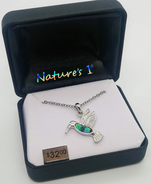 Nature's 1 Abalone Stone Hummingbird Pendant with 18
