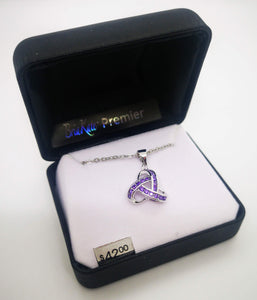 "Bria Kate Premier Multiple Purple Cubic Zirconia Stones Trinity Knot Pendant with 18"" Chain"