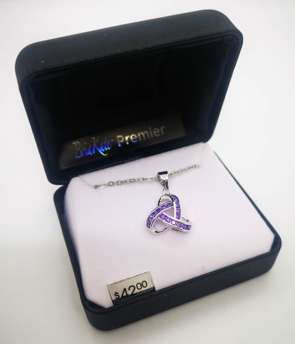 Bria Kate Premier Multiple Purple Cubic Zirconia Stones Trinity Knot Pendant with 18