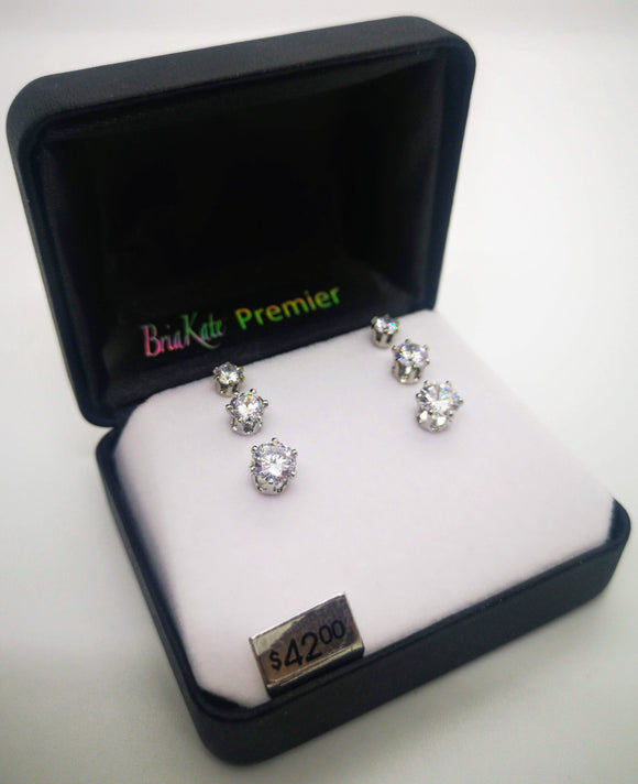 Bria Kate 3 Set Cubic Zirconia Stud Earrings