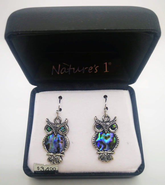 Nature's 1 Abalone Stone Dangle Owl Earrings