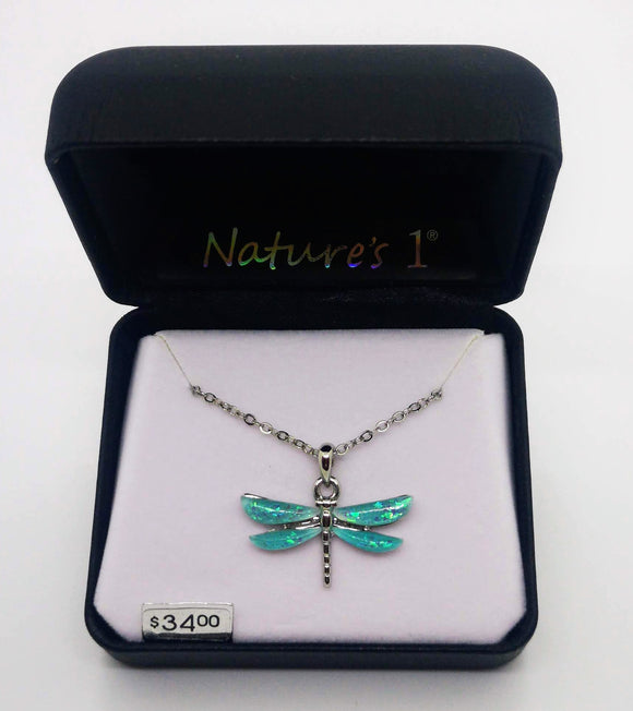 Nature's 1 Green Mystic Water Stone Dragonfly Earrings and Pendant with 18