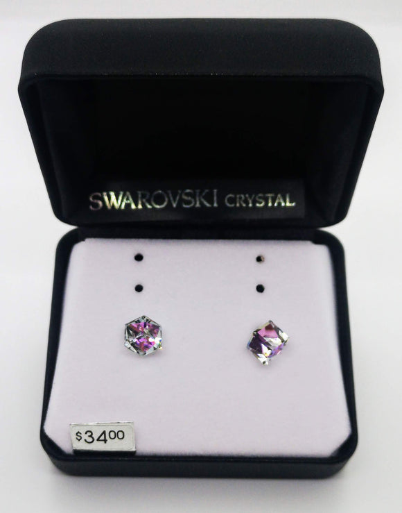 Swarovski Crystal Cube Stud Earrings
