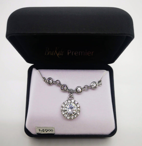 Bria Kate Premier Round Silver Pendant with Multiple Stones and 18