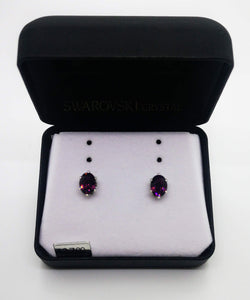 Swarovski Crystal 6 Prong Setting Oval Purple Stone Stud Earrings