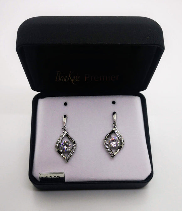 Bria Kate Premier Cubic Zircona Dangle Silver Earrings
