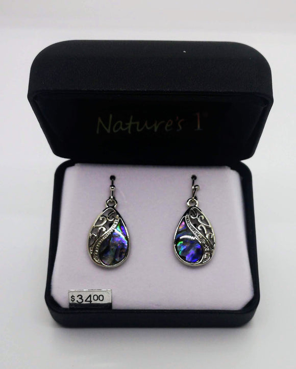 Nature's 1 Abalone Stone Dangle Tear Drop Shaped Earrings