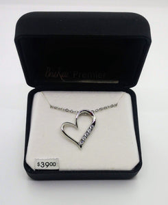 "Bria Kate Premier 5 Stone Cubic Zirconia Heart Pendant and 18"" Chain"