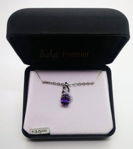 "Bria Kate Premier Purple Amethyst Pendant and Cubic Zirconia with 18"" Chain"