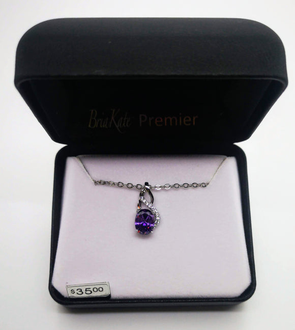 Bria Kate Premier Purple Amethyst Pendant and Cubic Zirconia with 18
