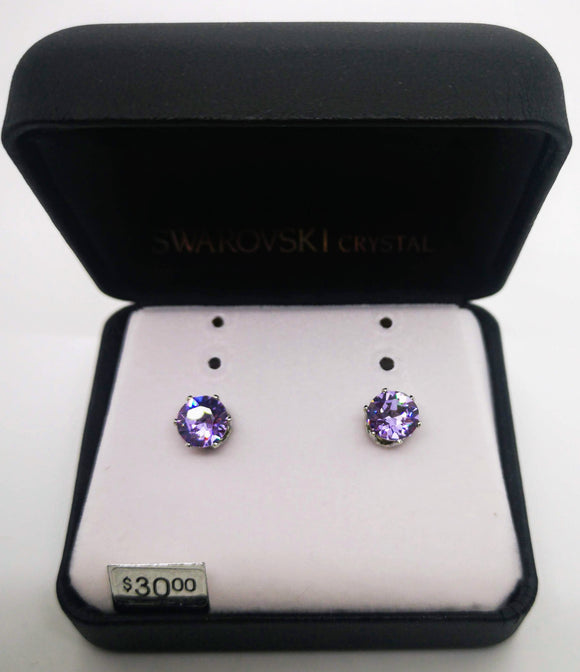 Swarovski Crystal Round Pink Stone Stud Earrings