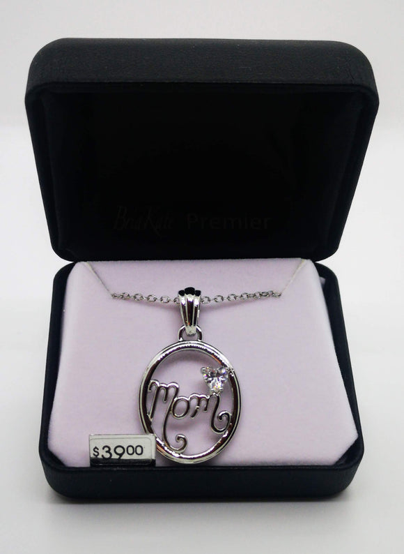 Bria Kate Premier Mom Pendant with 1 Heart Shaped Cubic Zirconia 18