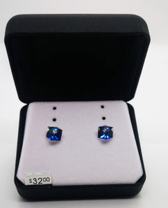 Swarovski Crystal Cubed Blue Stud Earrings