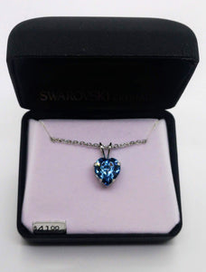 Swarovski Crystal Aquamarine Heart Stone Pendant with Chain