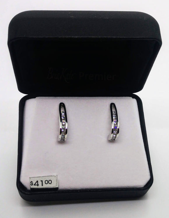 Bria Kate Premier Silver Earrings with 6 Cubic Zirconia Stones