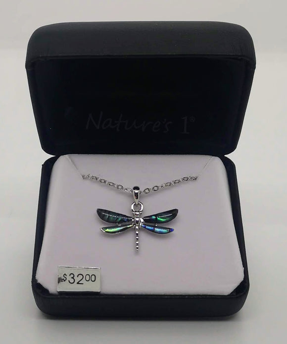 Nature's 1 Dragonfly Abalone Stone Pendant and Chain