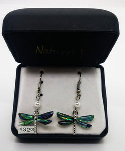 Nature's 1 Dangle Dragonfly Abalone Stone and Pearl Earrings