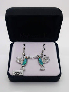 Nature's 1  Green Mystic Water Stone Hummingbird Earrings and Pendant with 18' Chain